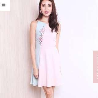 Merissa Applique Colourblock Sweetheart Dress in Pink