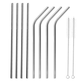 8 PCS Straight Bent Stainless Steel Reusable Long Drinking Straw for 30 oz yeti Tumbler Rambler Cup with 2 Cleaning Brush