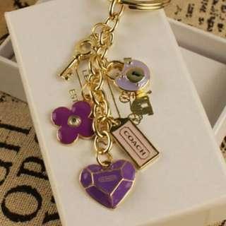 Coach 紫色吊飾鎖匙扣 key ring
