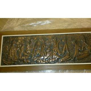 Finely crafted copper tooling artwork