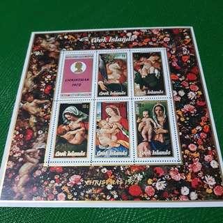 1972 12 October Christmas Miniatured Sheet Cooks Islands Stampsheet Sheetlet