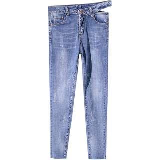 (S-L)春裝新款不規則高腰顯瘦牛仔褲 修身鏤空個性牛仔褲
