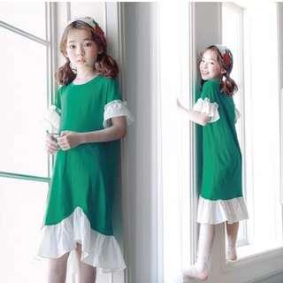 Hem lotus sleeves fishtail dress