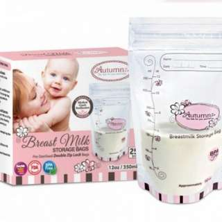 3 boxes Autumnz Breast milk Breastmilk storage bags (12oz/350ml) 75 bags