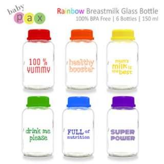 Preloved Baby Pax Rainbow Bottle / Botol Kaca Asi Babypax Rainbow