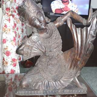 vintage heavy wood crafted statue NOT FOR SALE
