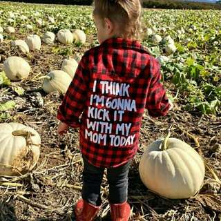 Baby Boy Girl Plaid Long Sleeves Letter Printed Top