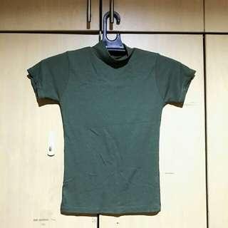 Highneck Ribbed Green Shirt