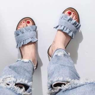全新~絨布花邊拖鞋🌸