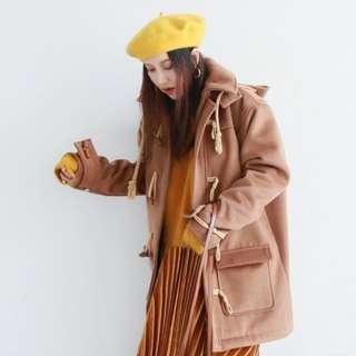 VM 復古法式氣息設計感 繩扣 寬鬆拉鍊連帽羊毛呢駝色大衣
