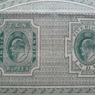 British BURMA / INDIA - King Edward - Rs 15 - BIG SIZED Stamp Bond Paper