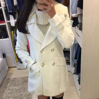 🚚 全新 韓版 真兔毛領羊毛挺版氣質大衣外套