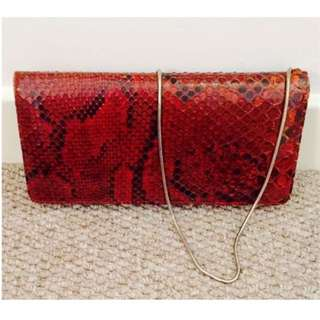 UK Vintage python Snakeskin Clutch purse Bag 英國 蟒蛇 蛇皮 真皮 宴會 手袋 手拿包 晚裝 exotic skin retro Ladies ladys' women snake skin 蛇 lizard brown 啡色 crossbody 斜咩 錢包 銀包 wallet chain 復古 懷舊 古著 Chanel pattern 花紋 包包 包 party dinner clubbing Sexy Handbag #byebyesummer