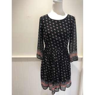 90's Vintage Dotti Black and Floral Dress