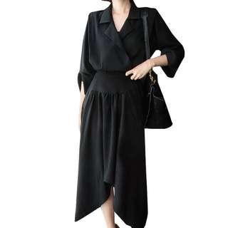 現貨*VM  韓版 秋冬復古時尚黑色收腰 西裝領襯衫 中長款不規則連身裙 2色