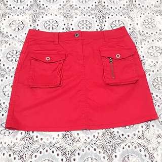 ESPRIT紅色口袋休閒短裙155/62A