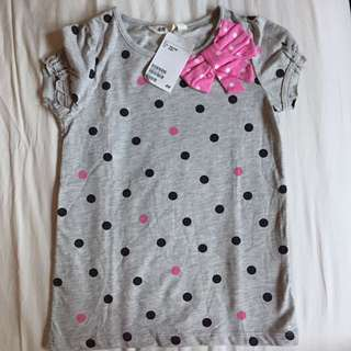 H&M brand new top with pink ribbon