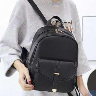 Ladies Black Oxford Buckle Plaited Backpack