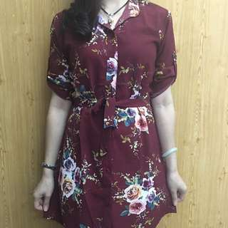 Floral Long sleeve Polo Dress