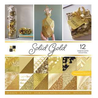 """12"""" x 12"""" DCWV Solid Gold Double-Sided Paper Stack"""