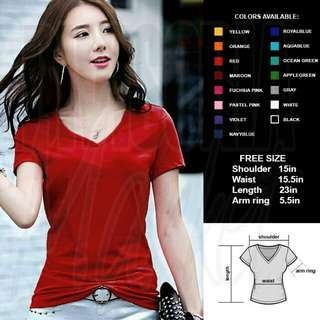 Cotton V neck shirt (Red)