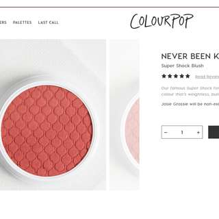 (BN) COLOURPOP 'NEVER BEEN KISSED' Super Shock Blush