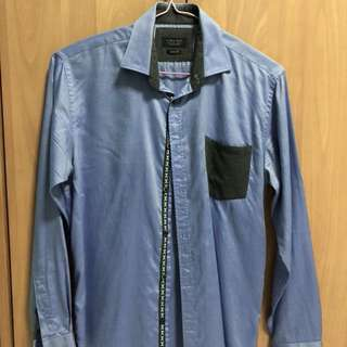 Zara Man Blue Formal Button Shirt Asian Fit
