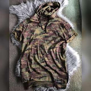 Camouflage hooded shirt