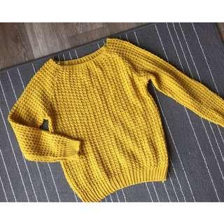 韓 芥黃針織毛衣