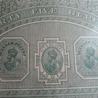 British BURMA / INDIA - King GEORGE - Rs 45 - vintage BIG SIZED Stamp Bond Paper