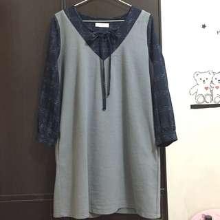 🚚 東京著衣學院風藍格紋灰色磨毛綁帶長袖洋裝