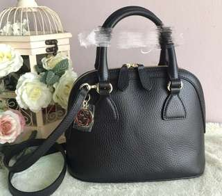 Gucci Small Dome Leather Crossbody Bag-Black