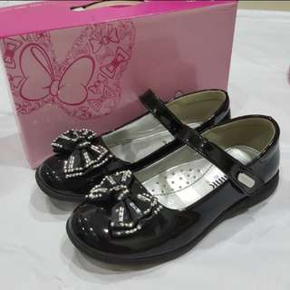 Black sequin bow dance shoes