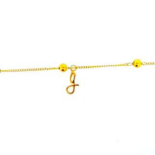 AUTIUM Pure Gold baby anklet 999 - Alphabet customisation available.