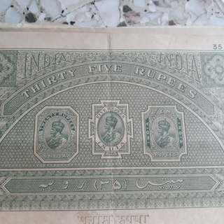 British BURMA / INDIA - King GEORGE - Rs 35 - vintage BIG SIZED Stamp Bond Paper