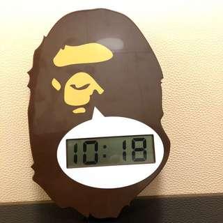 超新 A bathing ape BAPE 猿人掛牆鐘 wall clock