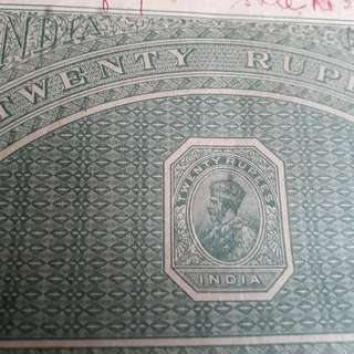 British BURMA / INDIA - King GEORGE - Rs 20 - vintage BIG SIZED Stamp Bond Paper