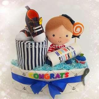 Boat Diaper Cake baby hamper