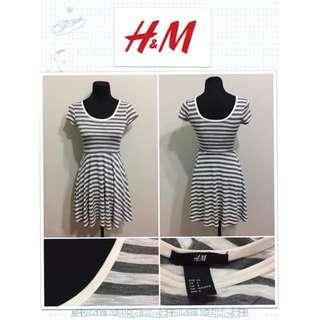 H&M Gray Stripe Skater Dress