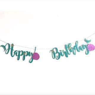 Mermaid Happy Birthday Bunting - Birthday party / baby shower / banner bunting / mermaid theme