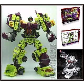 NBK TF Engineering KO Generation Toy GT Gravity Builder - Transformers Masterpiece MP Devastator Box Set + Free Megatron
