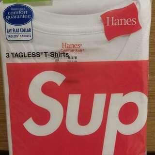 Supreme ~ White Hanes Tee Size M