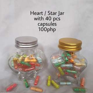Heart or Star Jar with message capsules