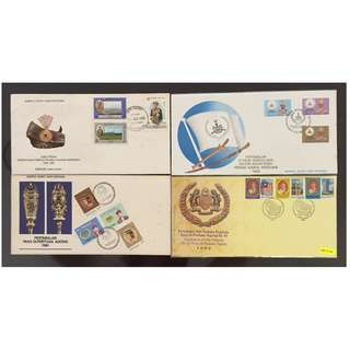 Malaysia 4 FDC - Coronations & Installations of Sultan and Agong (toning found on some covers)
