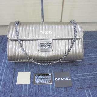 AUTHENTIC Chanel Metalic Silver Lambskin Flap Bag SHW