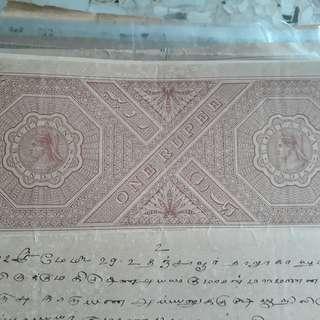 British BURMA / INDIA  - Queen VICTORIA - Re 1 - vintage BIG SIZED Stamp Bond Paper - WATERMARK
