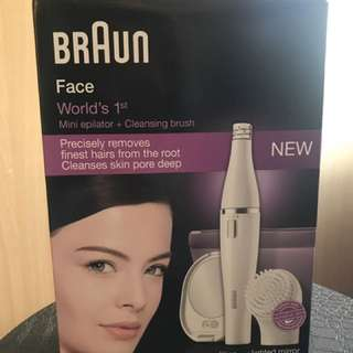 Braun 百靈 SE830 二合一面部脫毛潔面器(白色) (化妝袋+LED鏡) Facial Epilator and Facial Cleansing Brush.