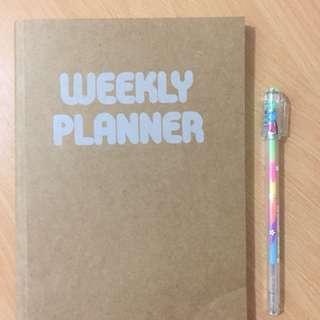 Weekly Planner & Rainbow Pen