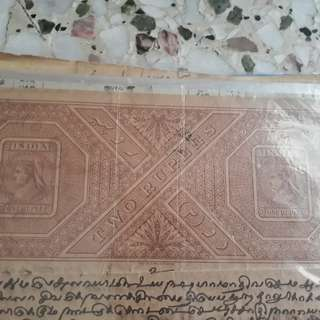 British BURMA / INDIA  - 1878 - Queen VICTORIA - Rs 2 - vintage Stamp Bond Paper - WATERMARK