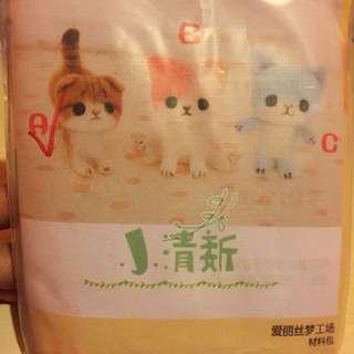 羊毛氈材料包 (啡色貓咪)